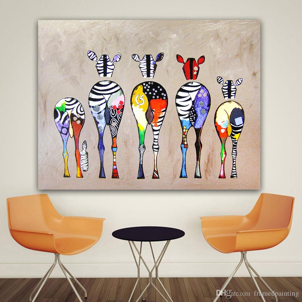 Großhandel Leinwandbilder Wandkunst Bilder Zebra Tier Ölgemälde Für ...
