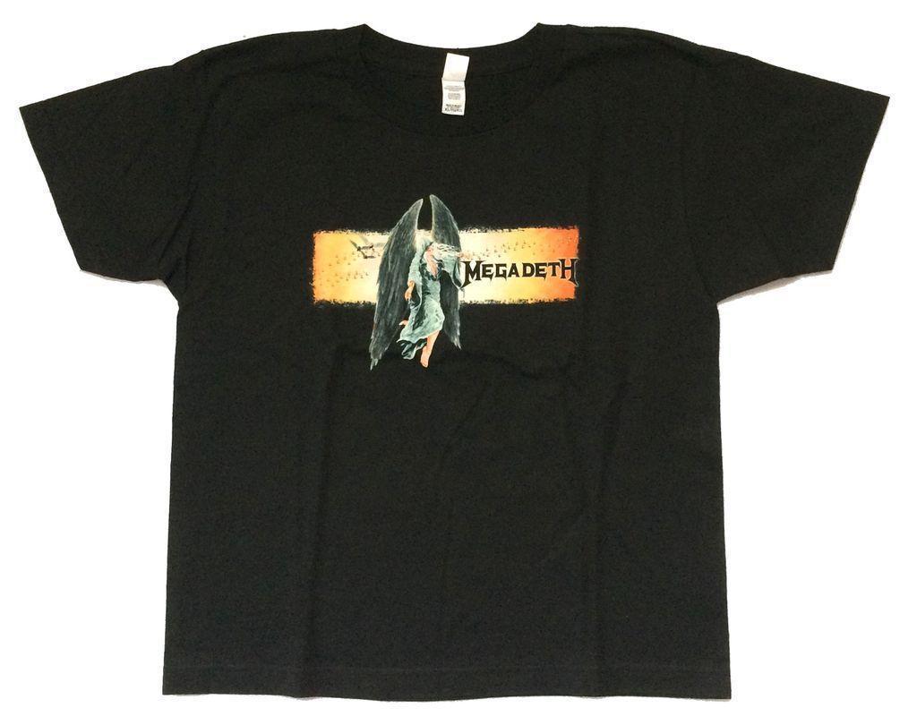 906e3772d Compre Megadeth Asas De Anjo Imagem Das Mulheres Das Mulheres Camiseta Preta  Nova Oficial De Yubin7