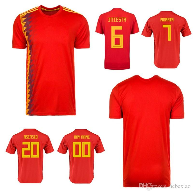 2018 adults T-shirt Spain shirt 18 men shirts Best Quality adult Isco Ramos Espana Soccer Jerseys Customizable name Professional clothing