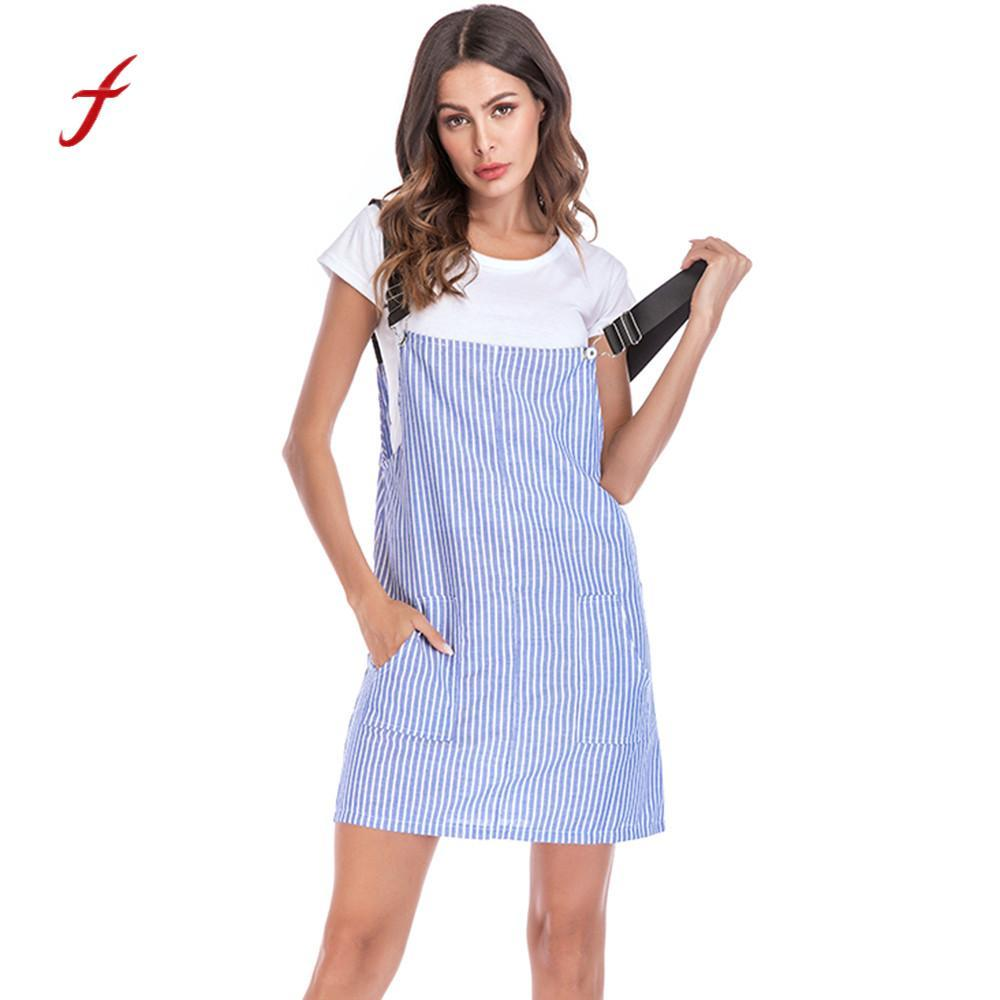35f19b7574c13 Feitong Summer Women Dress 2018 Casual Striped Adjustable Dress Cotton  Pockets Rompers Playsuit Mini Vestidos  PY Shop Womens Dresses Black Dress  Sale From ...