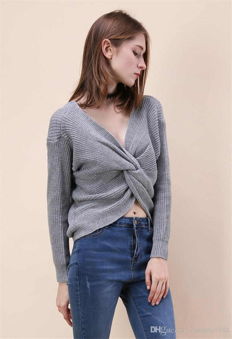 5f49302e807 European And American New Solid Color Women s Sweater Autumn And Winter  Long-Sleeved Sweater Sexy Bat Sleeves Women s Bottoming Shirt V-neck Sweater  Open ...