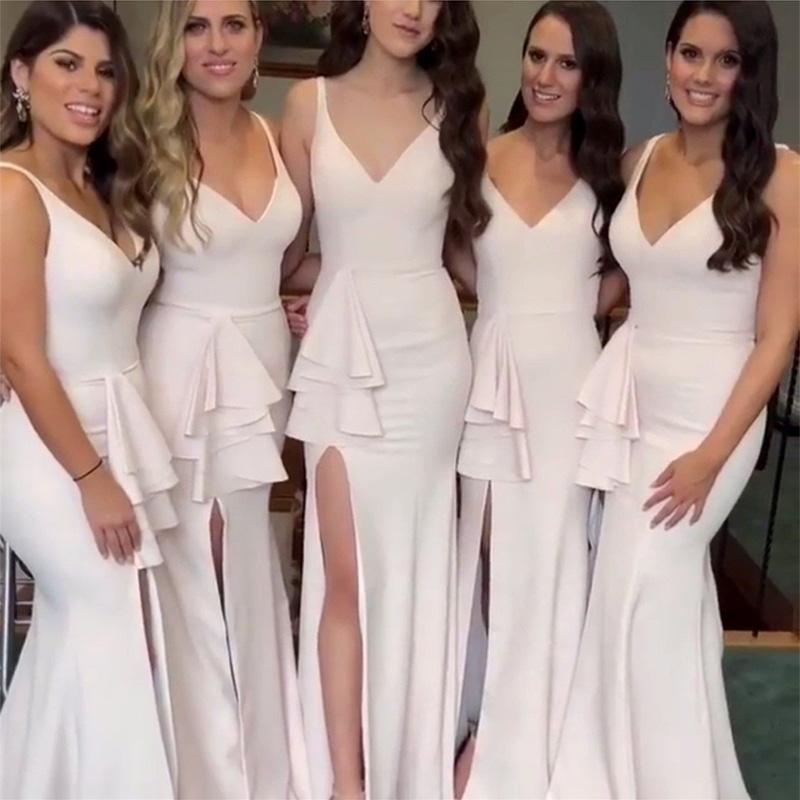 8a27c9b7a9 Compre Vestidos Largos De Dama De Honor Para El Banquete De Boda Con Cuello  En V Alta Hendidura Sexy Sirena Baratos Vestidos De Dama De Honor 2019  Vestido ...