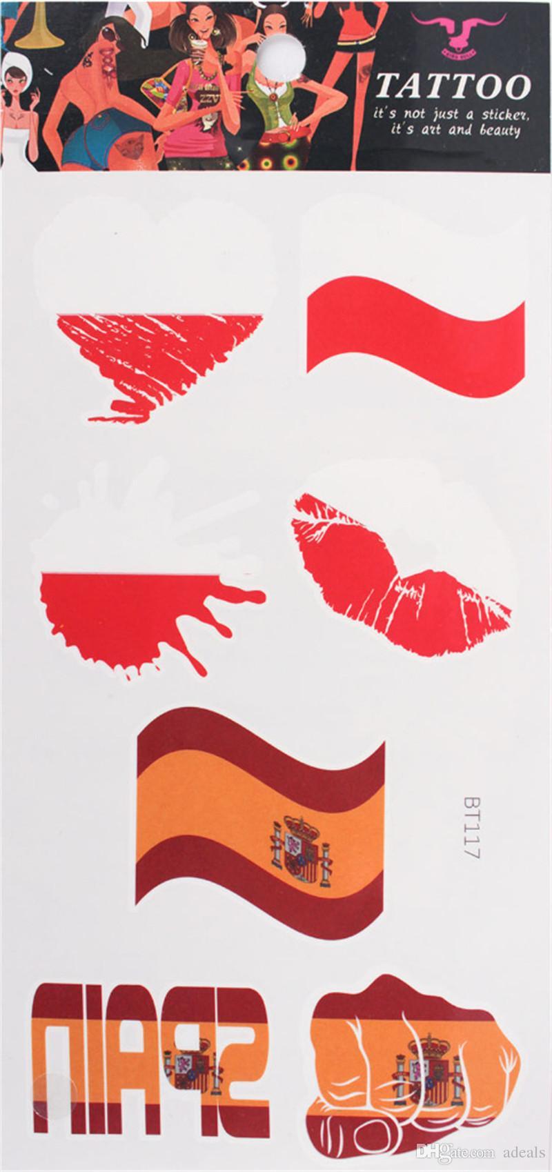2018 Football Games Flag car Tattoo Stickers World Cup Face Flag Tattoo Of car and Tattoo Sticker