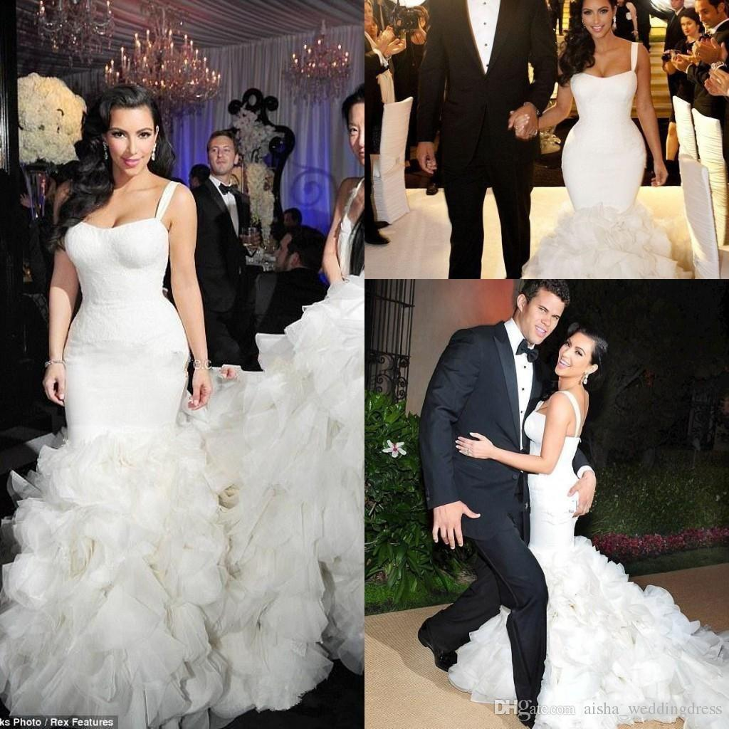 Kim K Wedding Gown: Kim Kardashian Trumpet Wedding Dresses 2018 New Sexy