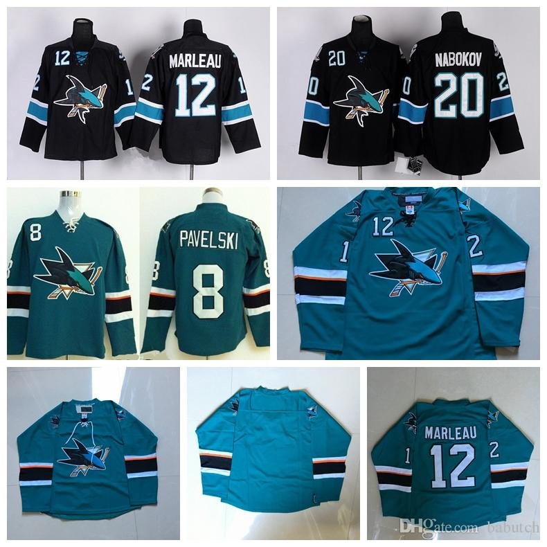 d8b057fb San Jose Sharks Hockey Jerseys 8 Joe Pavelski 12 Patrick Marleau 20 ...