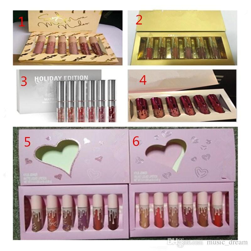 new Hot Lipkit Valentine Edition 5 style beautiful Set Lipstick Lipgloss High Quality Valentine Gift