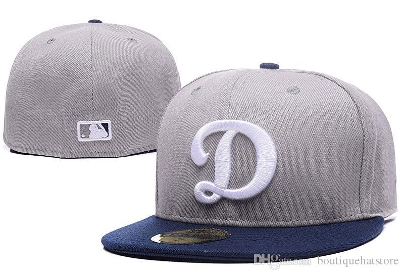 514e12cfaf1 2018 New Men S LA Fitted Hat Flat Brim Embroiered Big D Letter Logo Fans Baseball  Hats Size LA Full Closed Chapeu Brands Gray Color Vintage Baseball Caps ...