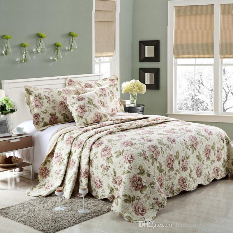 Hanxiangyiren New Arrival 100% cotton paisley patterned oriental quilted bedspreads/throws bed for spring summer autumn Hot Selling
