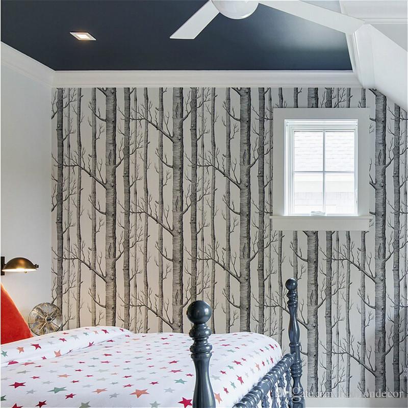 Schwarz Weiß Birke-Baum-Tapete für Schlafzimmer-modernes  Entwurfs-Wohnzimmer-Wand-Papier-Rolle-rustikale Waldholz-Tapeten