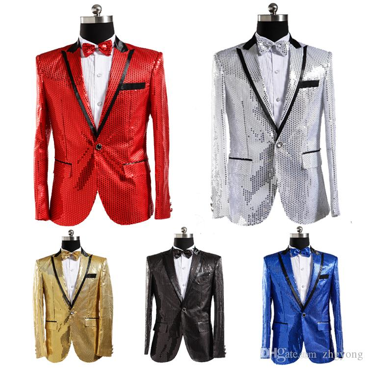 Seven Colors Pink Gold Blue Red Sequins Blazers Slim Coat Nightclub Male  Singer Chorus Host Stage Costume Choral Dress Studio Show Outerwear  Discount Mens ... 62c7b0059137