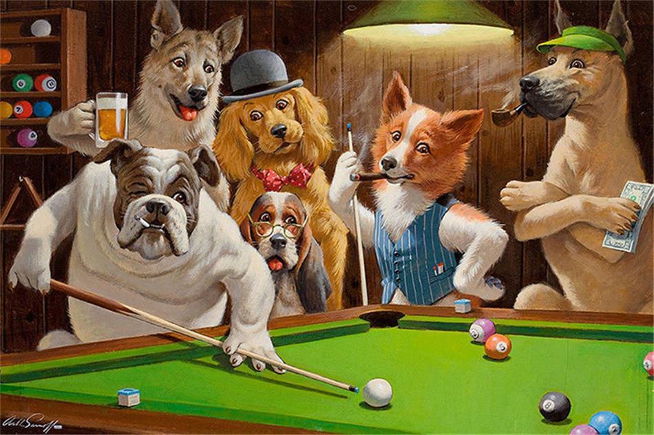 perros jugando billar
