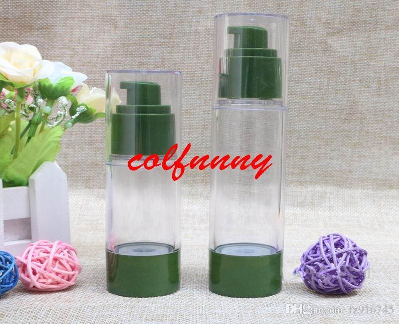 100 pçs / lote 30 ml 50 ml vazio verde frasco de vácuo garrafa garrafa de alta pressão, nenhum frasco de bomba de emulsão de ar perfume dispenser