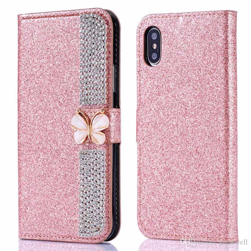 Nœud papillon Diamond Bling Flip Portefeuille Étui en cuir PU Couverture pour iPhone Xs Max XR 8 7 6 S Plus Samsung S8 S9 S10 Plus Note 9 A9 A8 A6 J8 J4