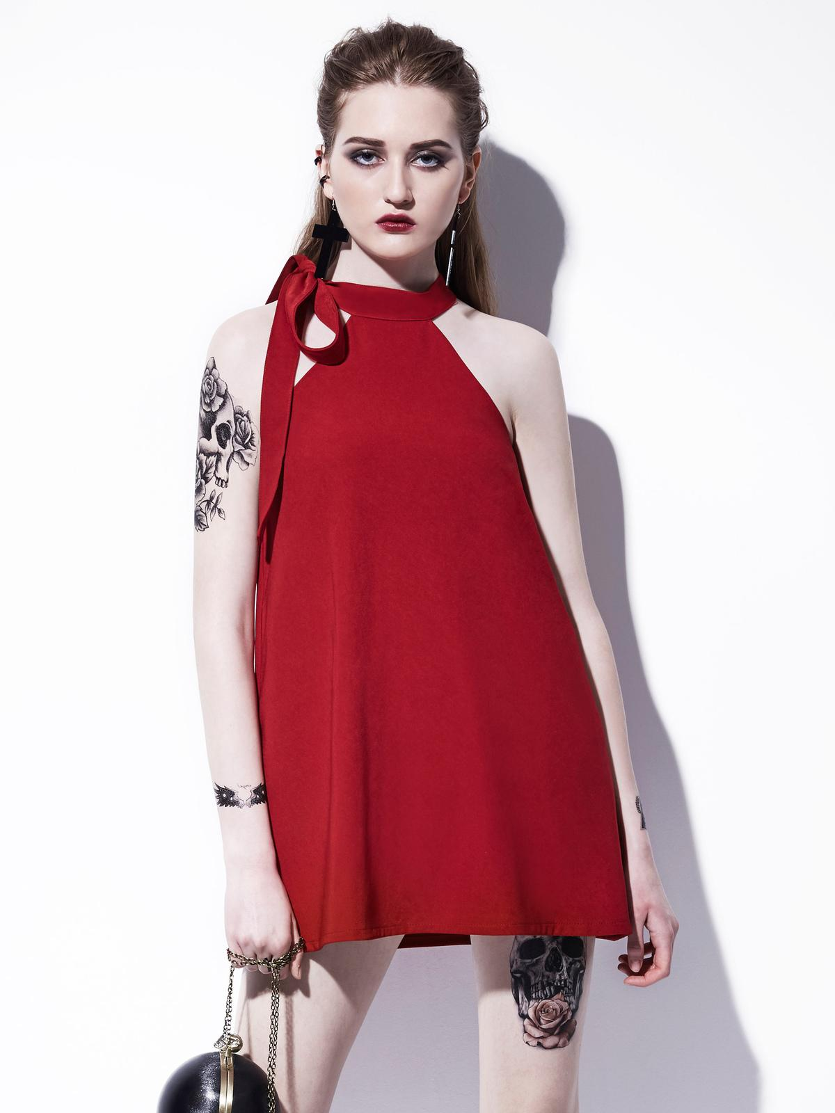 d2489043aba Gothic Mini Sleeveless Dress Red Women Summer Halter Sexy Casual Sweet  Pocket Lace Up Loose Pockets Fashion Goth Dresses Shopping Dress Lace  Sundress From ...