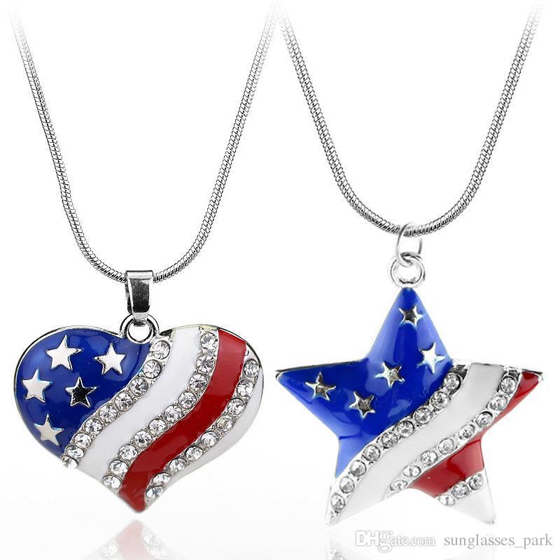 d80f19540a Compre Esmalte Bandera Nacional De Estados Unidos Collar Colgante 4 De  Julio Día De La Independencia Regalo Día Nacional De Joyería De Moda  Colgantes De Las ...