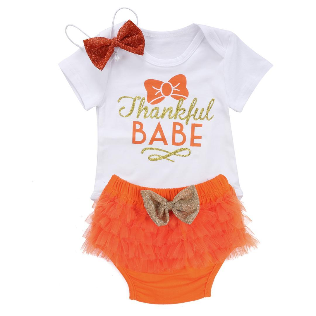 02c203963f19 2019 Thanksgiving Newborn Baby Girl Clothes Set Fashion Bow Cotton Bodysuit  Shorts Headband Clothes Outfits Sets From Callshe, $41.06 | DHgate.Com