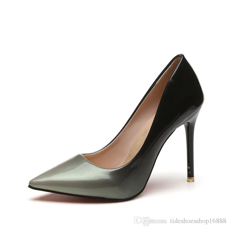 41b8a9cf7678 High Quality Black Gradient Color 10CM Women Pumps Sexy Extreme Pointed Toe  Ladies Stiletto High Heels Patent Leather Women Party Shoes Dress Shoes For  Men ...
