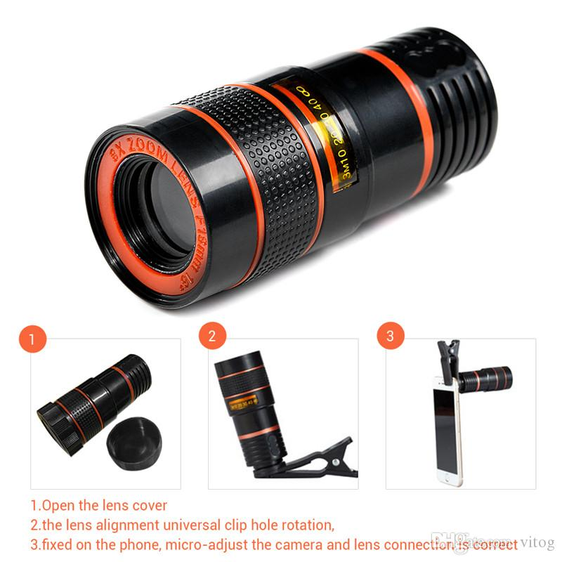 8X Zoom Telescope Lens Telephone Lens unniversal Optical Camera Telephoto phone len with clip for Iphone Samsung LG HTC Sony Smartphone