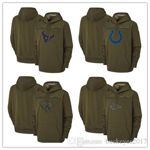 more photos 5d623 bd33a Houston Texans Indianapolis Colts Jacksonville Jaguars Kansas City Chiefs  Sweatshirt Olive Salute to Service Sideline Therma Pullover Hoodie