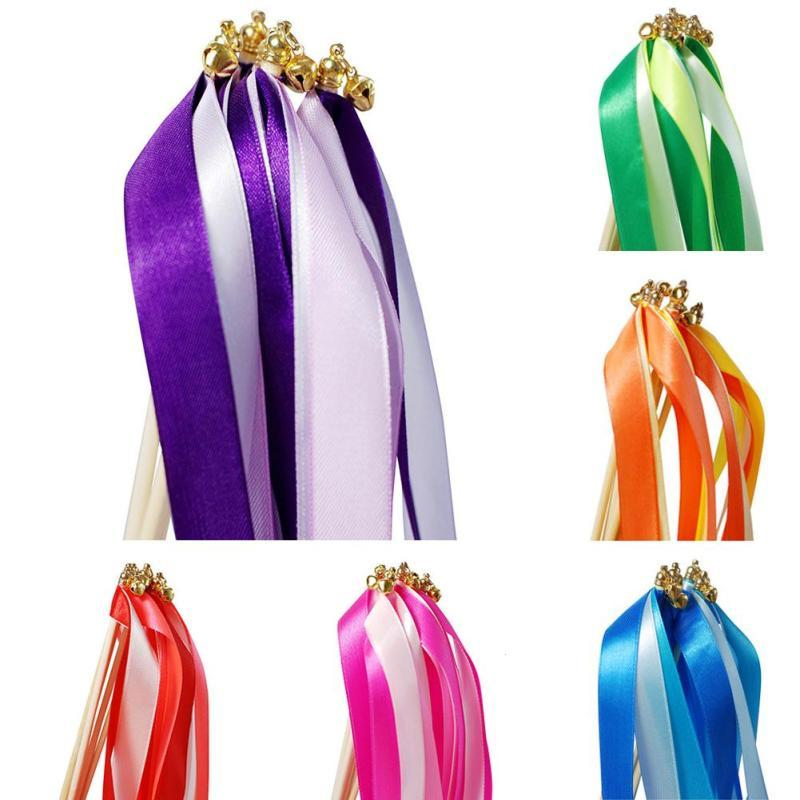 Colorful Wedding Ribbon Wands With Gold Bell Twirling Streamers ...