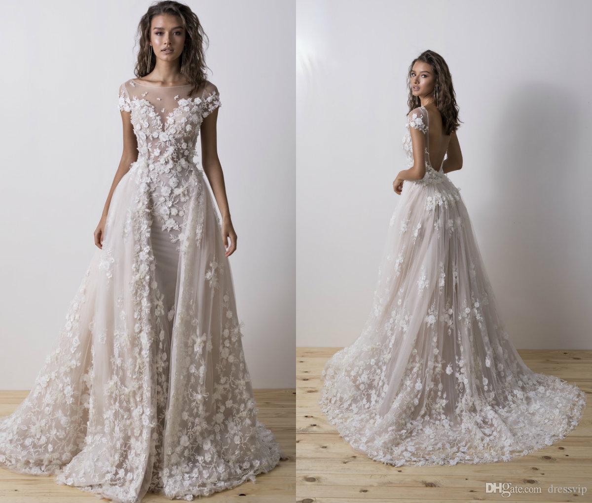 103d74751e86 2018 Mermaid Wedding Dresses With Detachable Train Lace 3D Floral Applique  Short Sleeve Boho Bridal Dress Sweep Train Plus Size Wedding Gown One  Shoulder ...