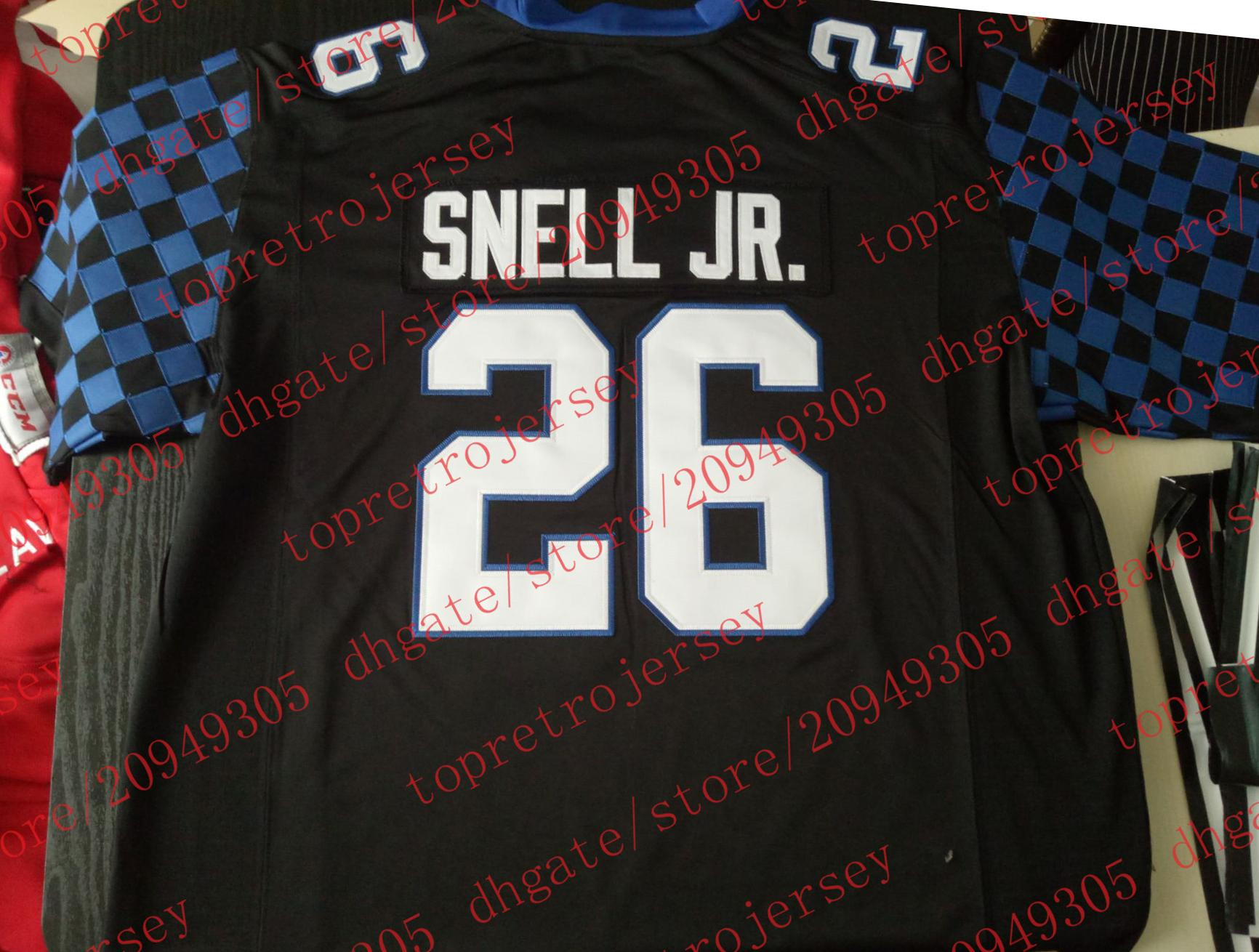 43ce93f34 2019 Cheap 2017 18 Custom 26  Benny Snell Jr. Jersey Kentucky Wildcats  College Black White Blue Mens Stitching Size S 6XL Football Jerseys From ...