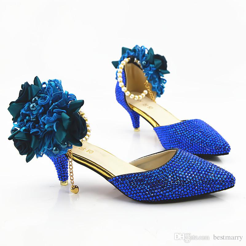 Blue Diamond Sandals Wedding Shoes 2018 Flower Kitten Heels Bridal Shoes  6cm Bling Bling Prom Shoes For Lady Navy Blue Bridal Shoes Nude Bridal Shoes  From ...