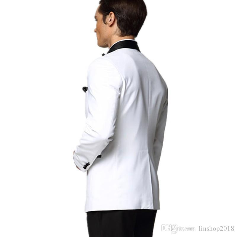 White Wedding Suits For Men Black Shawl Lapel Groomsmen Tuxedos Mens Suits Slim Fit Groomsmen Suit Jacket+Pants