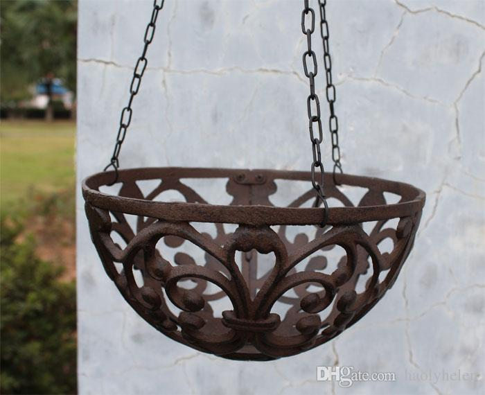 Half Round Cast Iron Hanging Flower Basket Rack Flower Pot Holder Heavy Metal Outdoor Garden Plant Holder Tray Hanger Antique Retro Brown