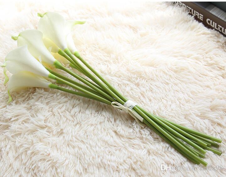 Simulación de alta gama sentir pu mini lirio de la calla flores artificiales decoración del hogar decoración de la flor de la boda GA71