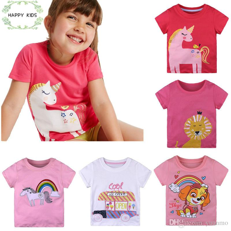 dfbd86501 2019 New Summer Fashion Children Cotton T Shirts Girls Clothes Baby Short  Sleeves Cartoon Printing Tops Casual Lovely Coat From Yuanmo, $11.33 |  DHgate.Com