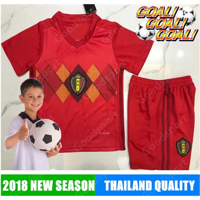 Youth 2018 Belgian World Cup Soccer Jersey Hazard Lukaku Mertens