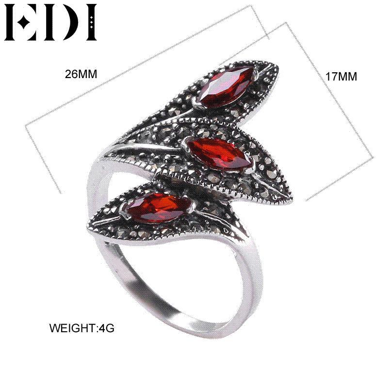 6b04740dc54a EDI 925 Sterling Silver Ring Jewelry Vintage Cocktail Anillo de Granate  Rojo Para Las Mujeres Forma de Hoja Única Piedras Preciosas Anillos de  Bodas anillos