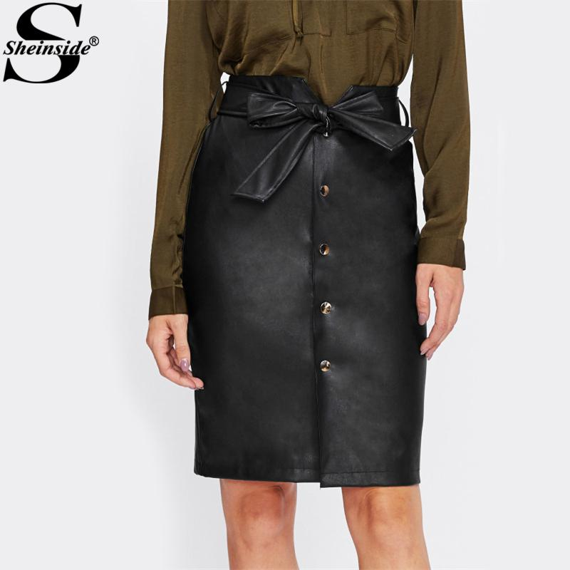 9e376acd55 2019 Sheinside Tie Bow Belt Waist Button Up Faux Leather PU Skirt 2017  Black Knee Length Elegant Pencil Skirt Women Midi From Benedica, $27.66 |  DHgate.Com