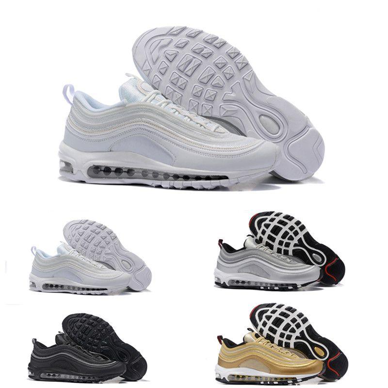 e904ef39628 Compre 2017 Metallic Gold 97 Sapatos De Corrida De Homens Silver Bullet  Mulheres Negras Outdoor Athletic Air Sports Sneaker Tênis Tamanho 36 46 De  ...