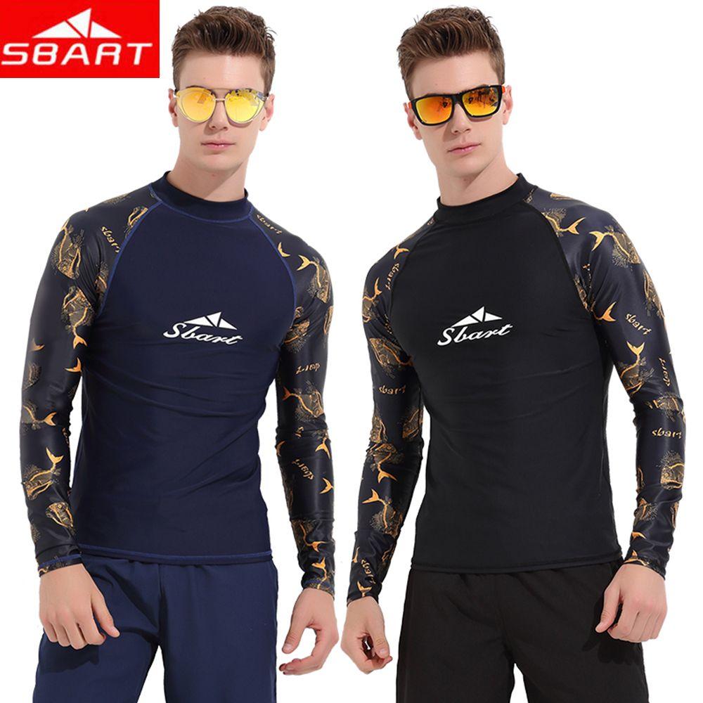 Compre SBART 2018 Long Sleeve Rash Guard Hombre Snorkel Ropa Surf Traje De  Baño Traje De Baño Impermeable De Secado Rápido Anti UV Ropa De Playa A   31.27 ... 4e3b78cfb7d44