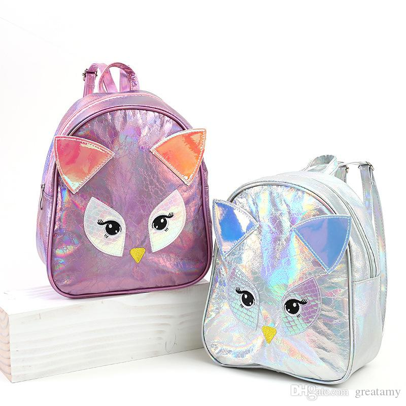 New cartoon luxury backpack owl PU laser bags children kids cute animal women girls travel bag