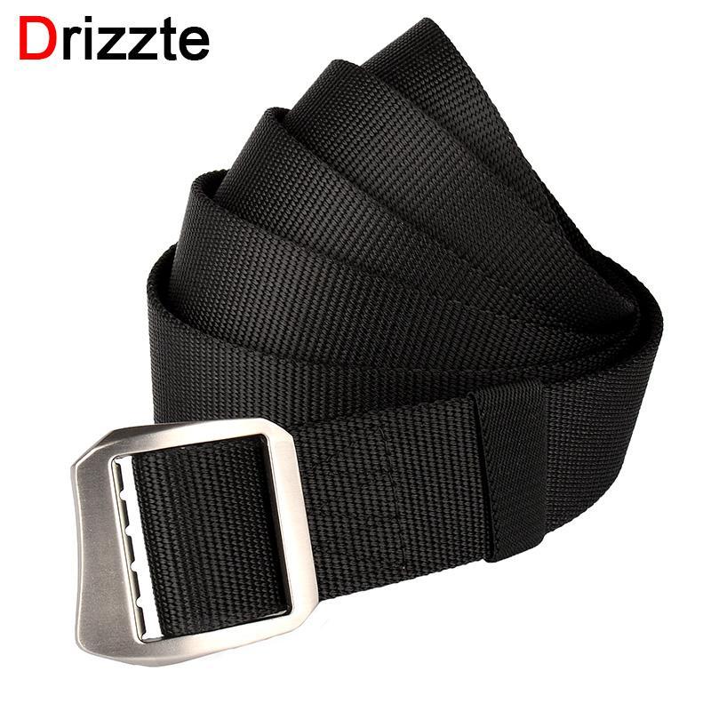 Drizzte Mens Plus Size Nylon Web Belt 130 140 150 160 180cm Webbing Metal Buckle 51 to 71inch Duty Belt for Big Man