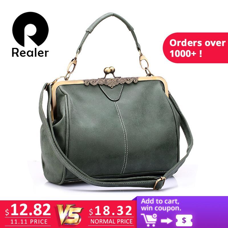 f98e6579f05 2019 Fashion REALER Brand New Retro Women Messenger Bags Small Shoulder Bag  High Quality PU Leather Tote Bag Small Clutch Handbags Designer Purses  Satchel ...