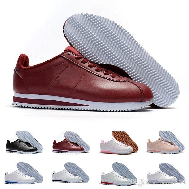 new concept 90978 4d24c Acheter Nike Classic Cortez Classique Cortez Basic Cuir Casual Chaussures  Pas Cher Mode Hommes Femmes Noir Blanc Rouge Or Skateboard Sneakers Taille  36 44 ...