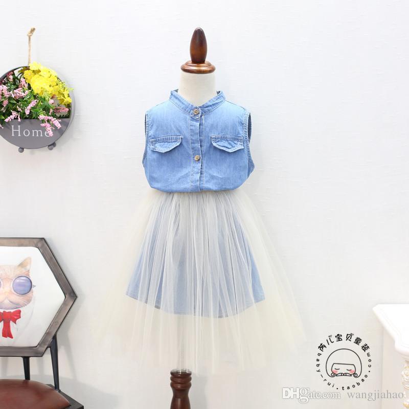 8215bea0e3b Baby Girls Dresses Clothes Korean Version Of The Children S Clothing Summer  2018 New Girls Denim Shirt Vest Skirt Yarn Skirt Two Sets Women Dressed  Dress As ...