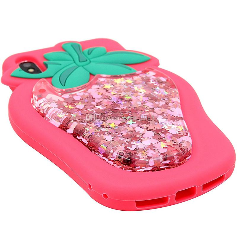For Iphone X Glitter Liquid Floating Start Pink Strawberry Phone Case For Iphone 7 Plus 8 6S 3D Soft Silicone Cases