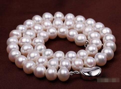 f20ddbf7630f Compre Precio Al Por Mayor     Real 9 10mm Collar De Joyas De Perlas De  Agua Dulce Natural Cultivadas En Blanco De 18 A  55.45 Del Zeipt