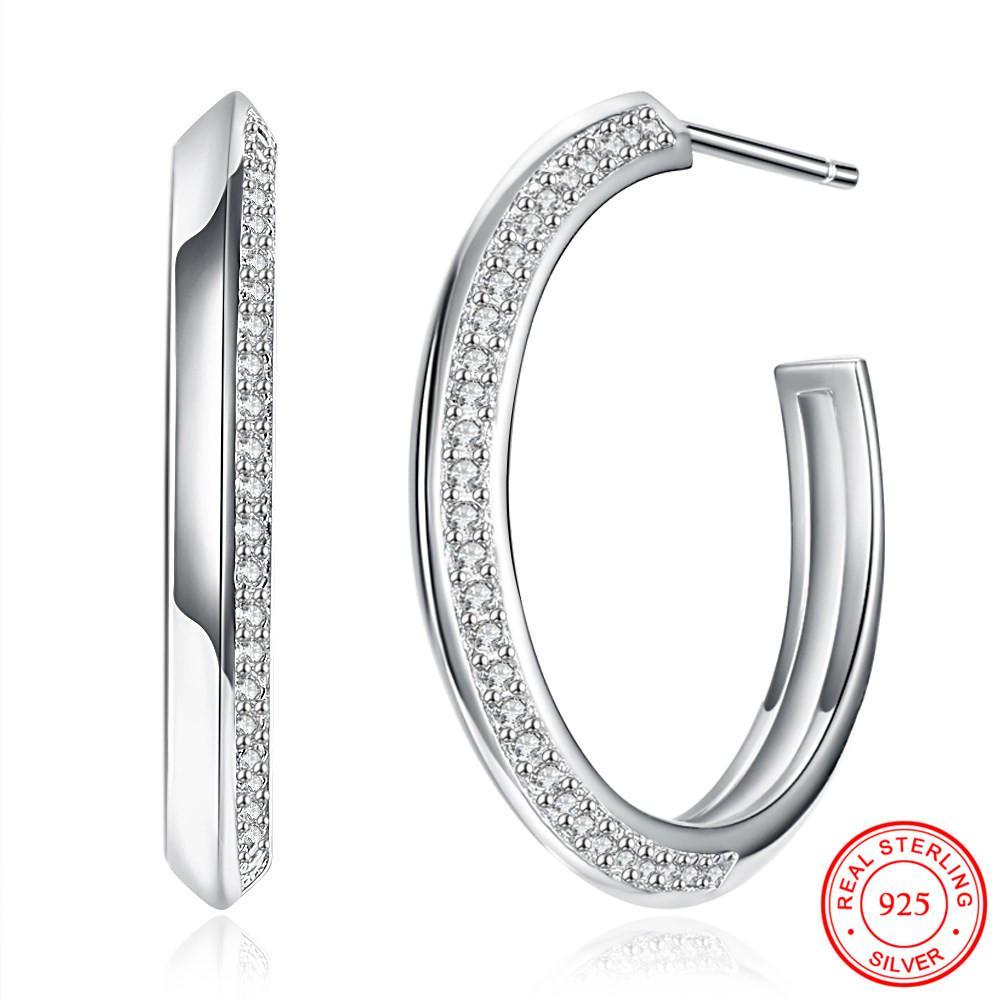 efc633f35 2019 2018 Top Popular S925 Sterling Silver Rhinestone Circle Earrings  Zircon Big Circle Hoop Earrings Simple For Women From Zaonoodle, $34.46 |  DHgate.Com