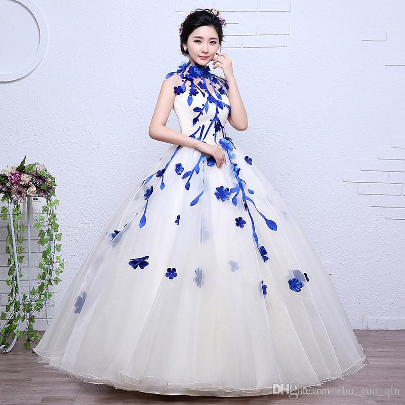 compre es rojo negro azul vintage cuello alto flores vestido de