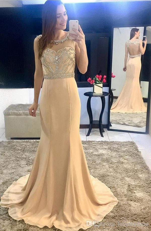 2018 Prom Dress Long Bling Crystal Beading Sequins Bateau Open Back Mermaid Formal Dress Evening Party Ball Gowns Chiffon Long Dress