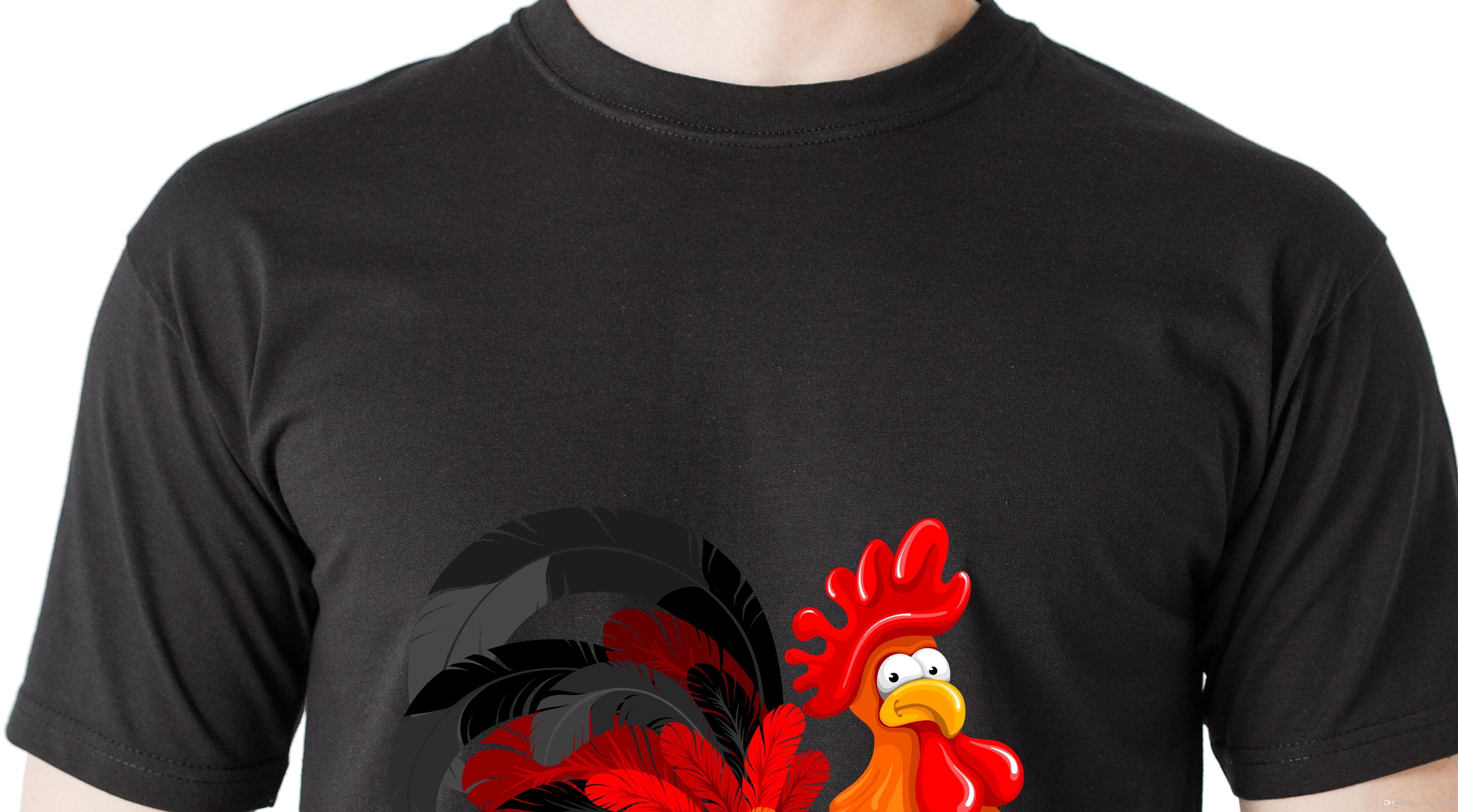 18 di nuovo modo di Cina Big Rooster T-shirt 100% cotone degli uomini di stampa Grew Neck sciolti maglietta Animal print Dimensione Uomo Tops Abbigliamento Maniche corte