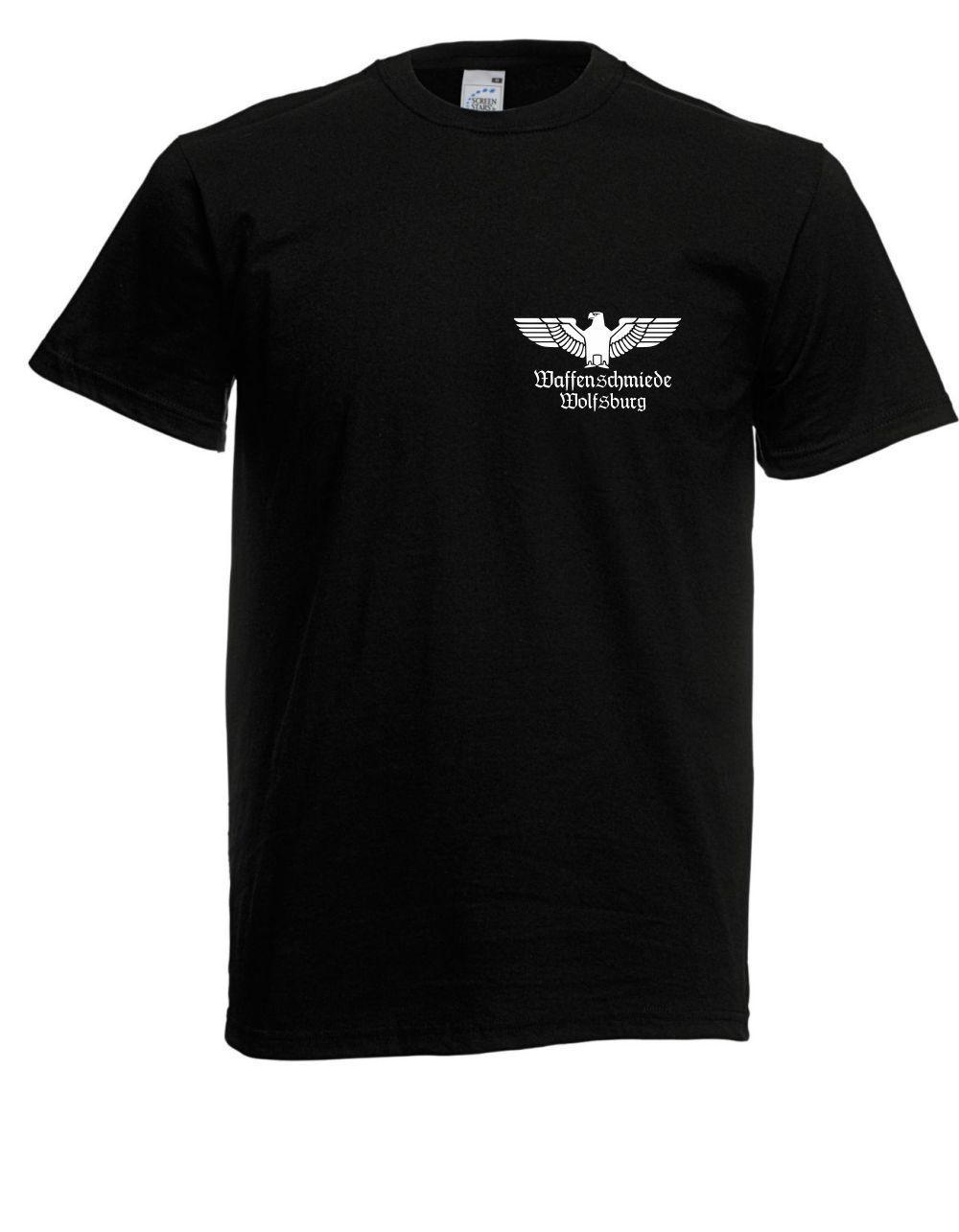 b3351089cf6f Men T Shirt 100% Cotton Print Shirts Herren T Shirt Waffenschmiede  Wolfsburg Front Ruckendruck Bis 5xl Tee Shirt Cheap T Shirts For Sale  Online One Day Only ...