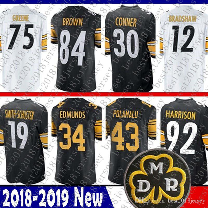 a38585f43 2019 Pittsburgh 34 Terrell Edmunds Steelers Jersey 58 Jack Lambert 30 James  Conner 43 Troy Polamalu 92 James Harrison 75 Greene 12 Bradshaw New From ...