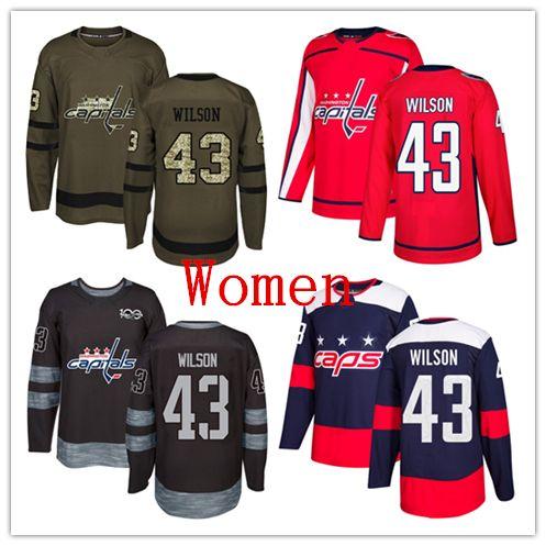 e03166619 2019 Womens Capitals 43 Tom Wilson Hockey Jerseys White Red Navy Blue Green  Salute 100th Anniversary From Worldjerseys, $22.34 | DHgate.Com